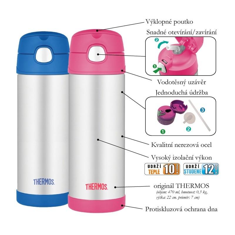 Detská termoska so slamkou - líška