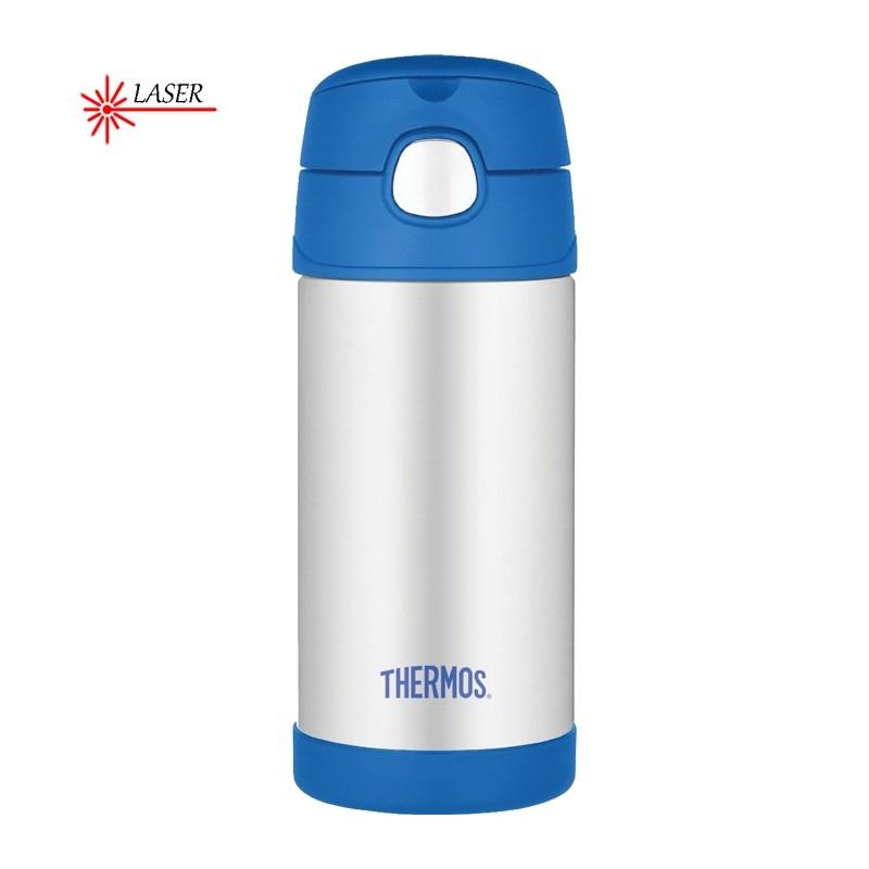 Detská termoska so slamkou - modrá