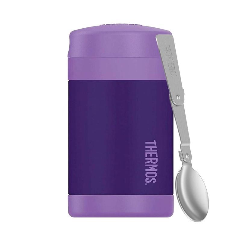 Detská termoska na jedlo s lyžicou - fialová